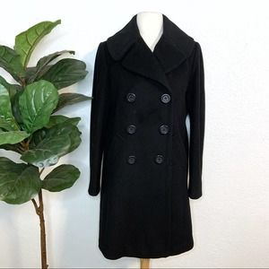 J. Crew Black 100% Wool Button Down Pea Coat US 6